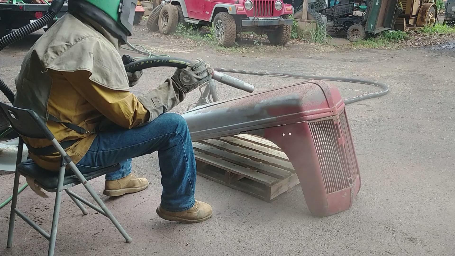 ag tractor hood grill media blast